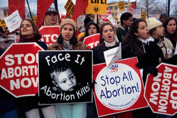 23 Jan 1995, Washington, DC, USA --- Young Pro-Life Supporters at March for Life Rally --- Image by © Mark Peterson/CORBIS