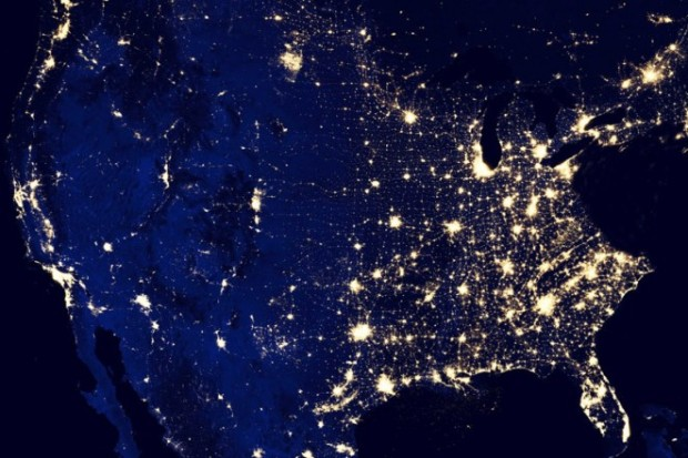 lights in US from space orbit